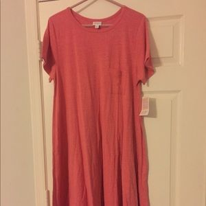Lularoe Carly xl pink heathered solid dress nwt